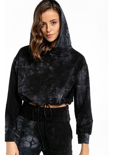 Tiffany&Tomato Batik Desenli Beli Ip Ile Ayarlanabilir Içi Şardonlu Crop Sweatshirt-Vizon Siyah